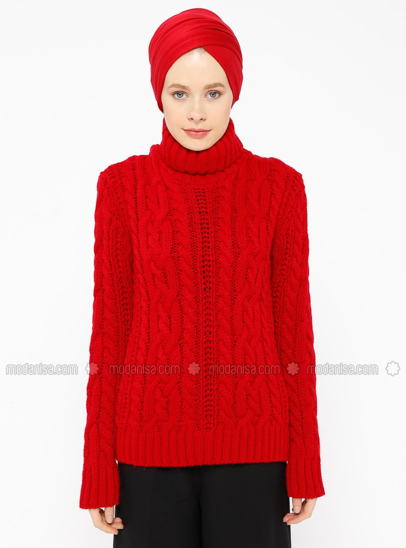 4e3901b98de3 Rouge - Col montant - Maille - Pull