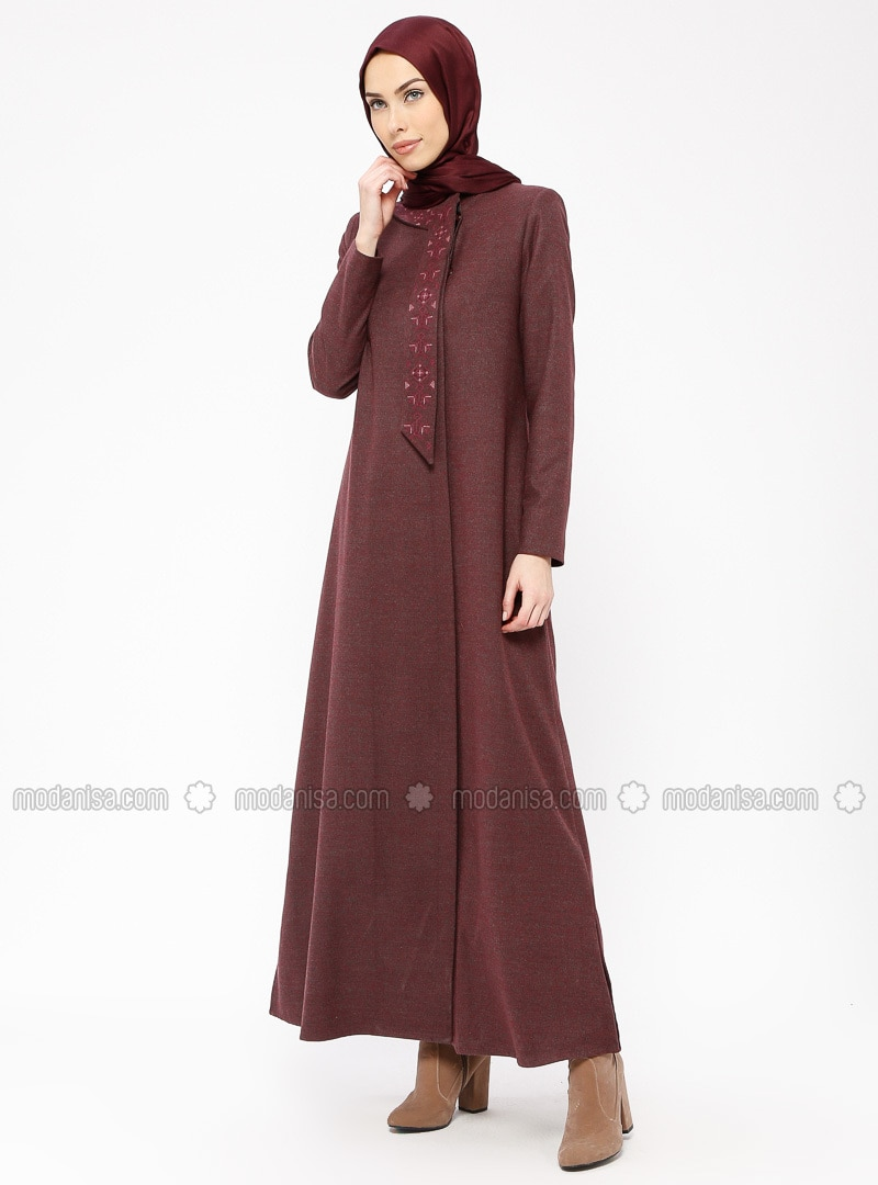 Maroon - Fully Lined - Crew neck - Viscose - Coat