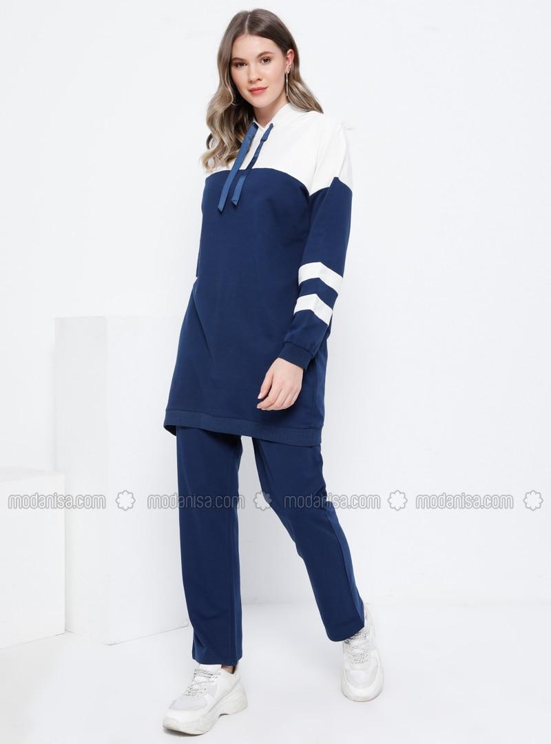 Ecru - Indigo - Unlined - Plus Size Suit