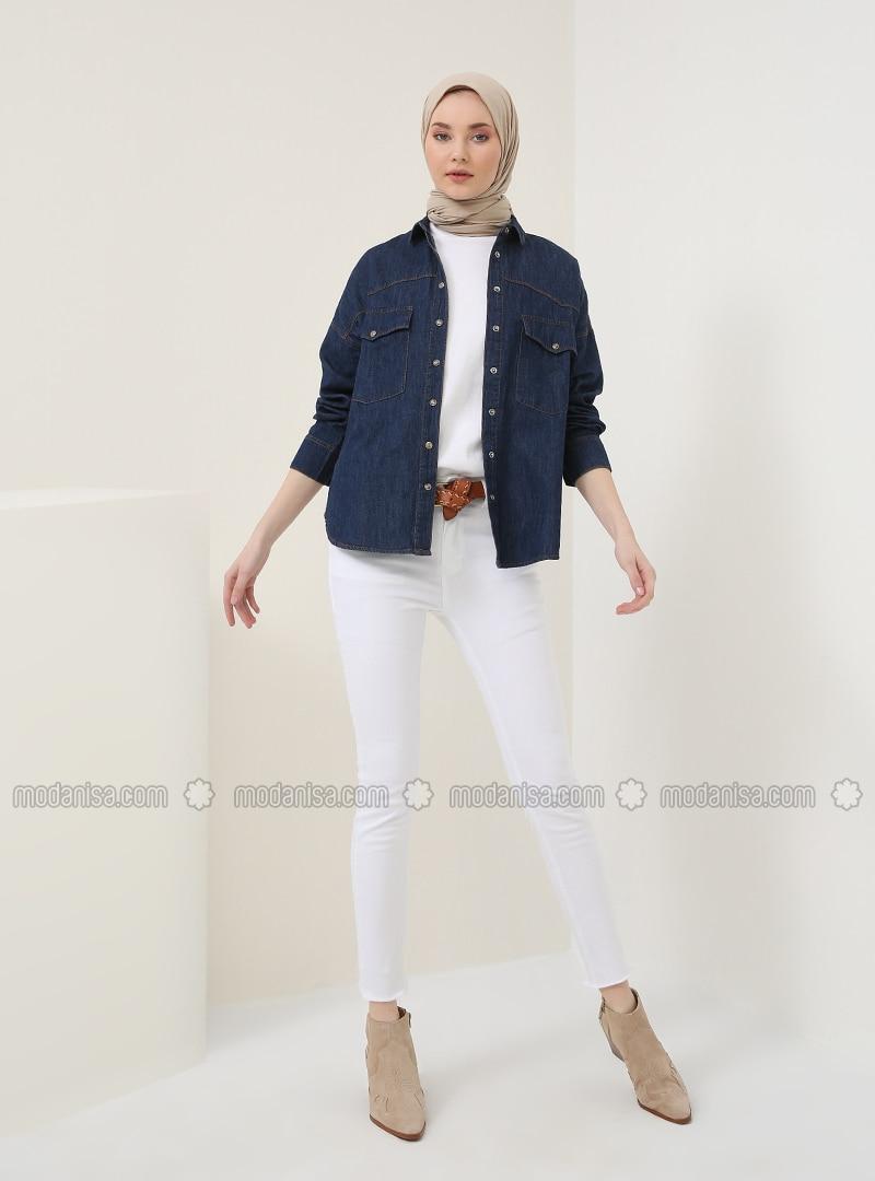 White - Cotton - Denim - Pants