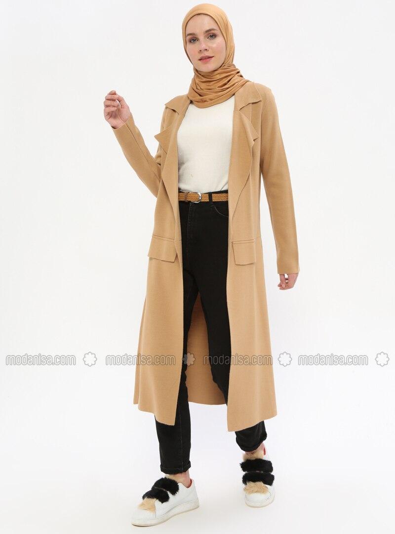 Camel - Shawl Collar - Cardigan