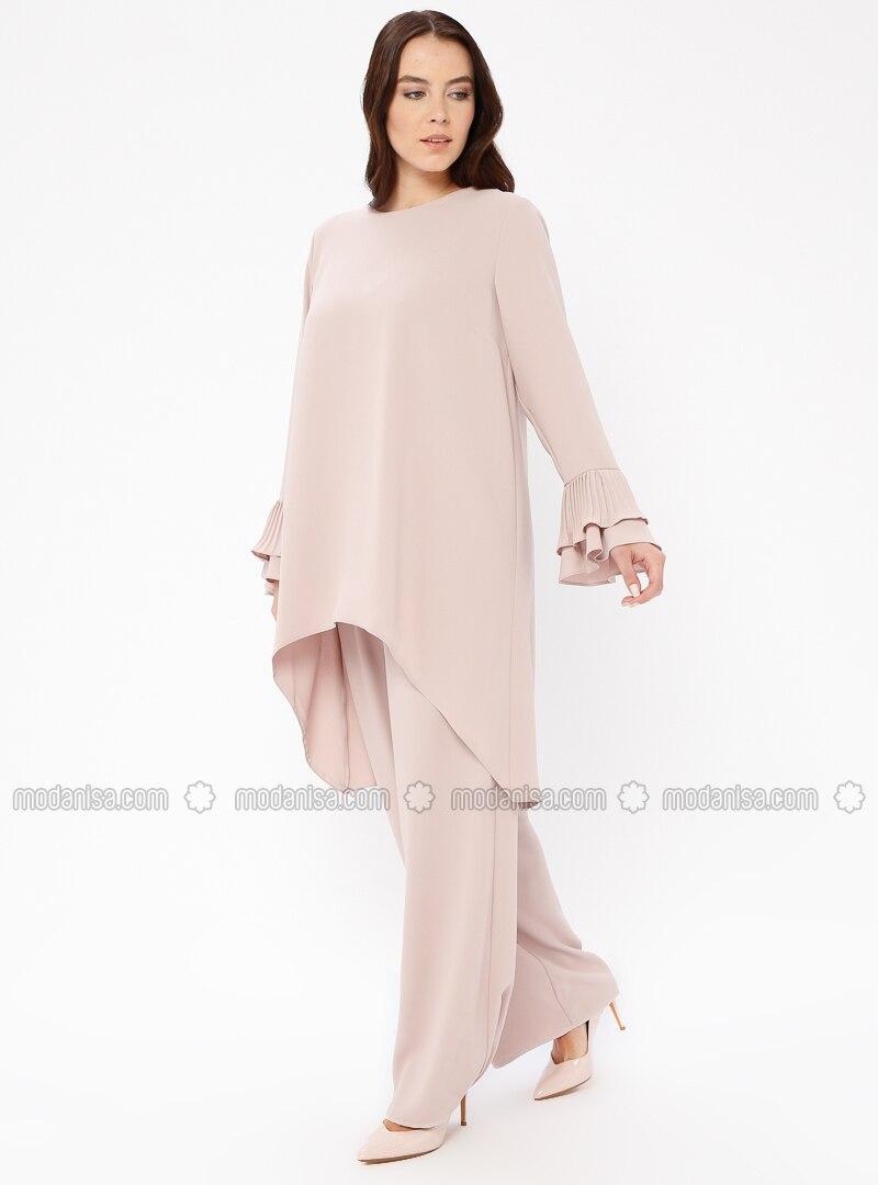 Salmon - Unlined - Crew neck - Muslim Plus Size Evening Dress