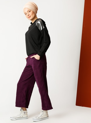 Purple - Cotton - Pants