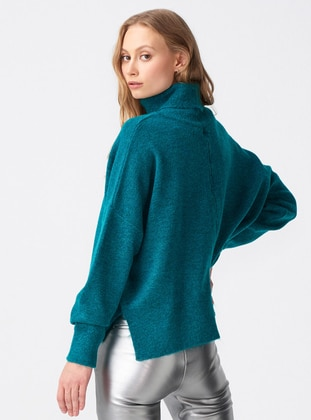 Petrol - Polo neck -  - Jumper - Dilvin