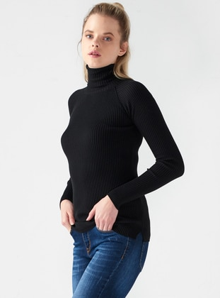 Black - Polo neck -  - Jumper - Dilvin