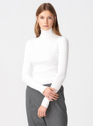 Ecru - Polo neck -  - Jumper