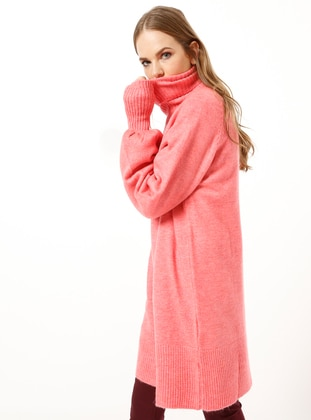 Pink - Polo neck - Acrylic -  - Tunic