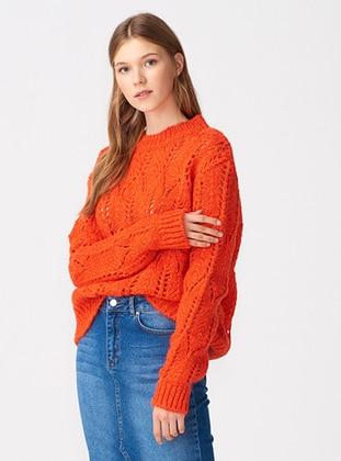 Orange - Crew neck - Wool Blend - Acrylic -  - Knitwear - Dilvin