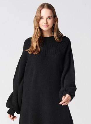 Black - Crew neck -  - Dresses