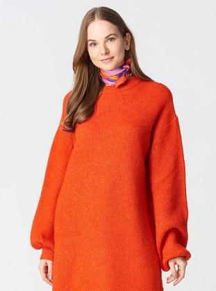 Orange - Crew neck -  - Dresses