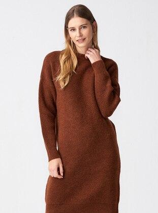 Brown - Crew neck - Unlined -  - Dresses