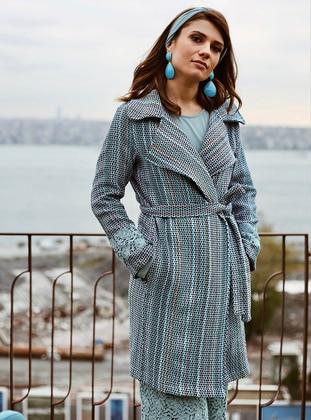 Blue - Stripe - Unlined - Shawl Collar - Topcoat