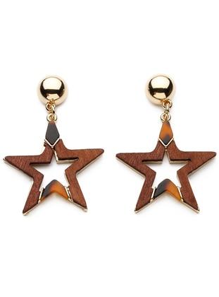 Modex Detaylı Yıldız Küpe - Altın