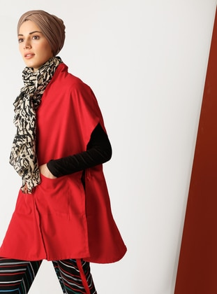 Red - V neck Collar - Unlined - Cotton - Poncho