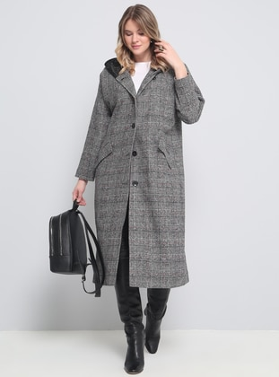 Black - Plaid - Fully Lined - Plus Size Overcoat - Alia
