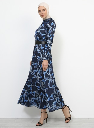 Navy Blue - Multi - Crew neck - Unlined - Dresses