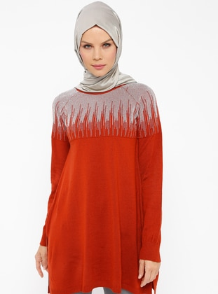 Metallic - Terra Cotta - Crew neck -  - Tunic
