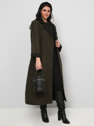 Black - Khaki - Unlined - Shawl Collar - Cotton - Plus Size Overcoat - Alia