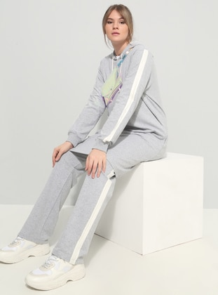 Gray - Unlined - Plus Size Tracksuit