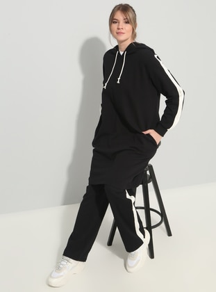 Black - Ecru - Unlined - Plus Size Tracksuit - Alia
