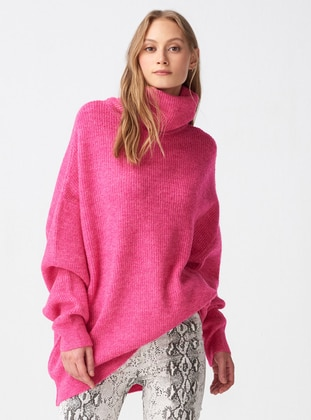Fuchsia - Polo neck -  - Jumper - Dilvin