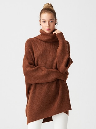 Brown - Polo neck -  - Jumper - Dilvin