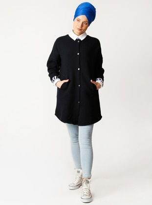 Navy Blue - Fully Lined - Crew neck - Cotton -  - Puffer Jackets