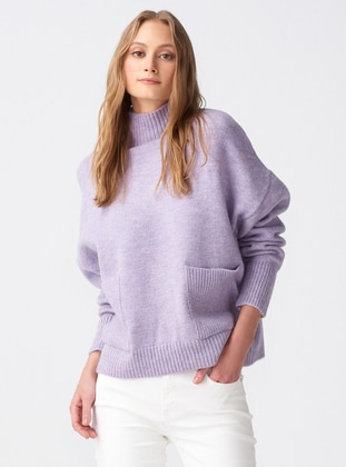 Lilac - Polo neck -  - Jumper - Dilvin
