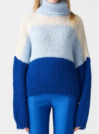 Blue - Saxe - Polo neck -  - Jumper