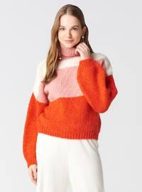 Orange - Polo neck -  - Jumper