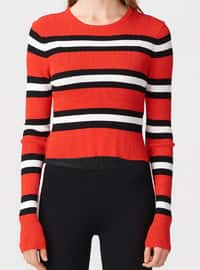 Red - Black - Crew neck -  - Jumper