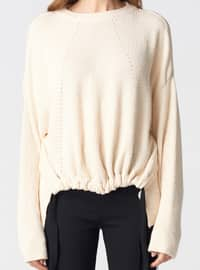 Beige - Crew neck -  - Jumper