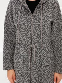Gray - Anthracite - Smoke-coloured - Fully Lined - Plus Size Coat