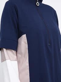 Pink - Saxe - Polo neck - Plus Size Tunic
