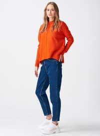Orange - Polo neck -  - Jumper
