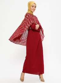 Maroon - Multi - Unlined - Crew neck - Muslim Evening Dress