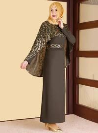 Gold - Khaki - Multi - Unlined - Crew neck - Muslim Evening Dress