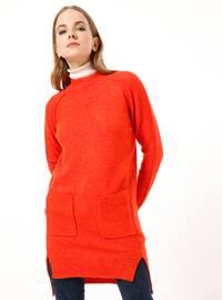 Orange - Polo neck - Acrylic -  - Tunic