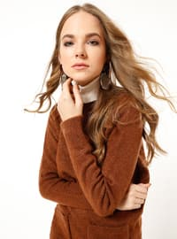 Brown - Polo neck - Acrylic -  - Tunic