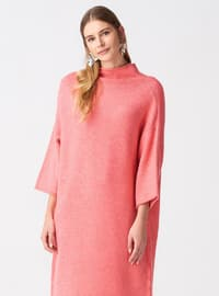 Pink - Polo neck -  - Dresses