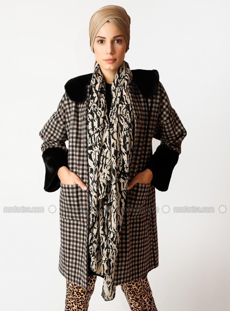 Brown - Multi - Unlined - Crew neck - Cotton - Coat