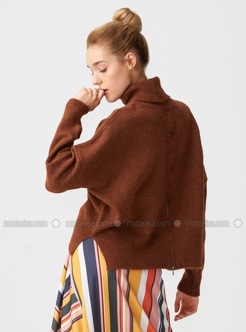 Brown - Polo neck -  - Jumper