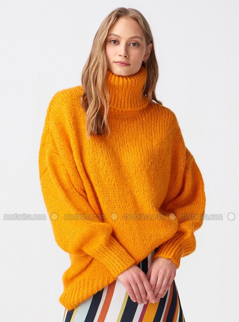 b83998a533de3d Orange - Polo neck - - Jumper. Fotoğrafı büyütmek için tıklayın
