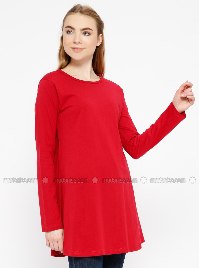 Red - Crew neck - Cotton - Tunic