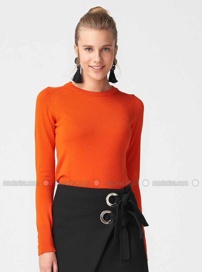 Orange - Crew neck -  - Jumper