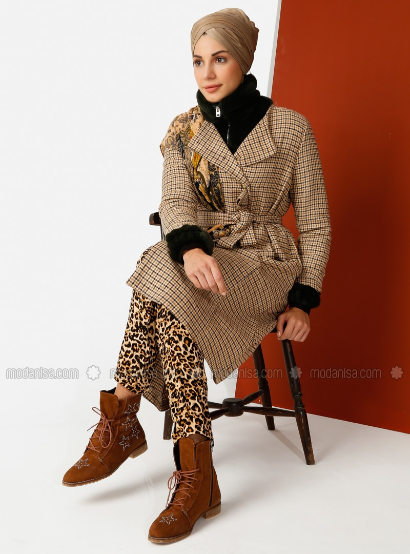 fashion design outlet on sale original Brown - Checkered - Unlined - Crew neck - Cotton - Trench Coat