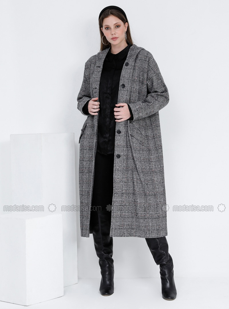 Black - Plaid - Fully Lined - Plus Size Overcoat