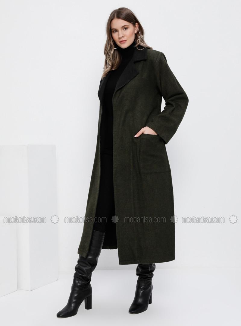 Black - Khaki - Unlined - Shawl Collar - Cotton - Plus Size Overcoat