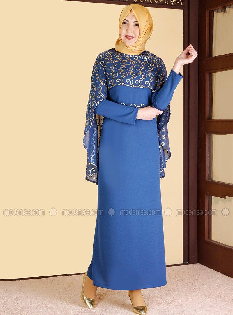 Indigo - Multi - Unlined - Crew neck - Muslim Evening Dress