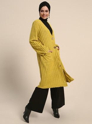 Yellow - Stripe - V neck Collar - Acrylic -  - Cardigan